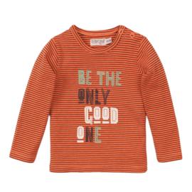 Dirkje-Baby Boys T-shirt ls -Neon coral + stripe