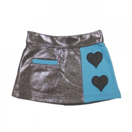 Girls Love skirt silver- LoFff-  Grey and indian blue