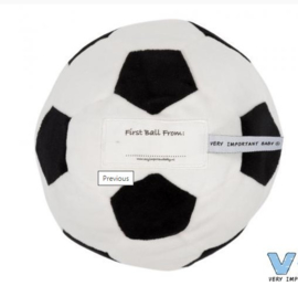 VIB-Unisex Pluche voetbal 'First ball from: ...'-White-black