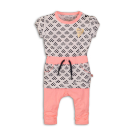 Baby Girls 2 pce babysuit -Dirkje-Light neon coral + white aop