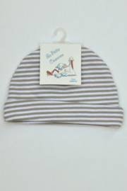 Unisex New Born Babymuts stripe -LPC-White-Grey