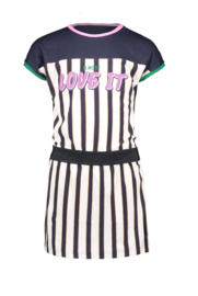 B.Nosy-Girls YDS dress with cut and sew and contrast binding-Blue-Oxford stripe