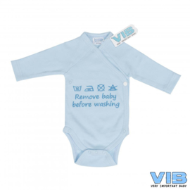 Boys Romper Remove baby before washing-VIB-Licht Blue