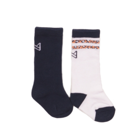 Koko Noko-Girls Knee socks 2-pack-Navy + white