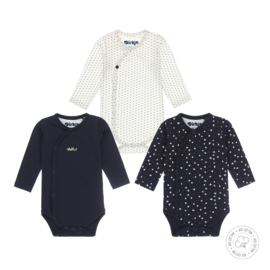 Dirkje-Baby Girls 3 pce body set l.s Bio Cotton-Navy + off white