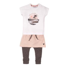 Dirkje-Baby Girls  3 pce babysuit skirt-White + smokey pink + smokey grey + aop