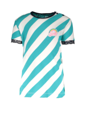 B.Nosy-Baby girls short sleeve shirt with slanted YDS and mesh at detail-Ceramic stripe