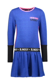 Girls Kids lurex dress, contrast sleeve-end and artwork-B.Nosy-Cobalt blue
