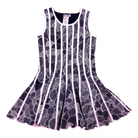 Girls Binding Dress- LoFff-Dark Blue- White