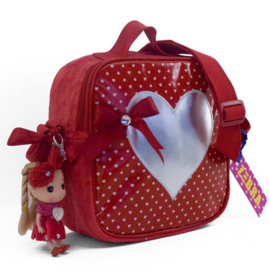 Girls Kindertas met rits dol-Zebra- red