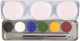 Unisex Schmink palet, 6 kleuren-C-  kleuren assorti