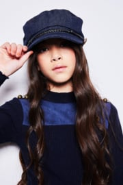 Girls Teens Kolet rib turtle neck tshirt- Nobell- Grey Navy