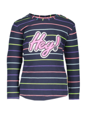 Baby girls striped shirt with Hey artwork- B.Nosy-b. str. multi color