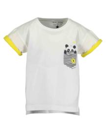 Blue Seven-Kids Girls knitted T-Shirt- FUN PANDA-WHITE ORIG