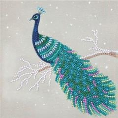 Chrystel Card Kit-Diamand Painting Pretty Peacock-Craft Buddy- Multi Color