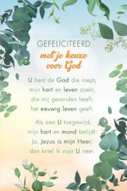 Baaij Light Cards-Wenskaart Gefeliciteerd met je keuze voor God-White-green