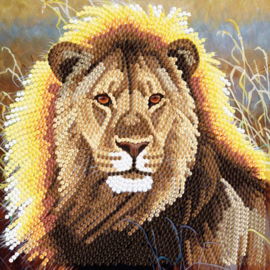 Chrystel Card Kits-Diamand Painting Resting Lion-Craft Buddy- Multi Color