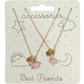 Kindercollier Best Friends Flamingo- Goud-Klijn-Gold