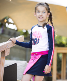 Girls shirt with contrast sleeves, sporty tape and chest artwork-B.Nosy-star white