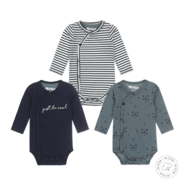 Dirkje-Baby Boys 3 pce body set l.s Bio Cotton -Navy + dusty green + off white