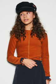 Nobell-KeilaB velours rib tshirt with piping detail at front+ruffled sleeve cuffs-Cinnamon-Brown