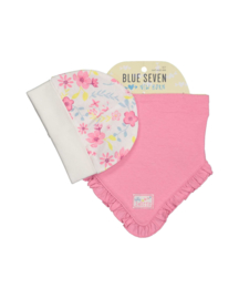 Baby Girls cap + scarf- Blue Seven-White