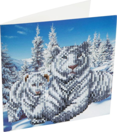 Chrystel Card Kit-Diamand Painting Snowy White Tigers-Craft Buddy- Multi Color