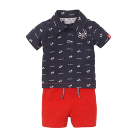 Dirkje-Baby Boys 2 pce babysuit shorts -Navy + red