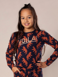 DJ Dutch Jeans-Girls Sweater ls-Navy + rusty brown