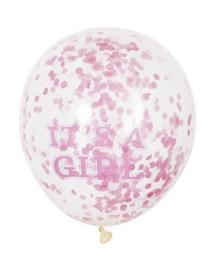 Ballon 30 cm 6 stuks Babygirl met confetti -C-Roze