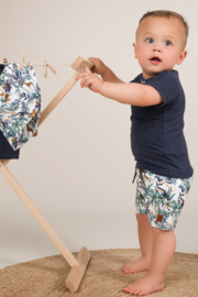 Dirkje-Baby Boys  2 pce babysuit shorts-Navy + multi colour