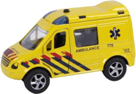 2-Play Traffic Die Cast Pull Back Ambulance met L/G-C-Yellow