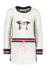 Girls Kids melange sweat dress sequins STAR-Bampidano-Navy Melee
