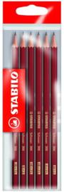 Stabilo Grafietpotloden 6 stuks in zakje 5 hardheden-C-red