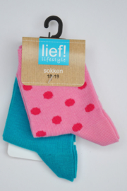 Lief! Girls 2-pce Socks- Lief- Roze/blue