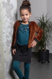Junior Girls longsleeve Colette plain with panel print MON CHERI-Bampidano-Petrol