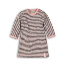 Baby Girls Dress Stripe- Dirkje- grey melee + stripe