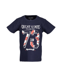 Boys knitted T-shirt-Blue Seven-Night Blue
