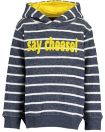 Kids  Boys knitted sweatshirt, hood-Blue Seven-DK Blue Orig