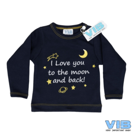 Boys T-Shirt Navy I Love you to the moon and back! 3M-VIB-Navy-white