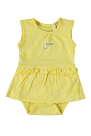 Baby Girls  New Born romper dress sleeveless allover print-Bampidano- Yellow allover