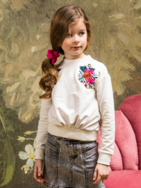 B.Nosy-Girls sweater with embroidery on shoulder-Cotton-Off white