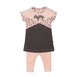 Dirkje-Baby Girls  2 pce babysuit dress-Smokey pink + smokey grey