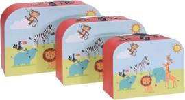 Kinderkoffer safari dierenprint- 3 verschillende maten- 30/25/20 cm