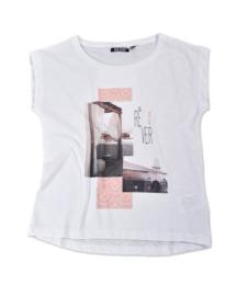 Girls T-Shirt La Vie- Blue Seven- White