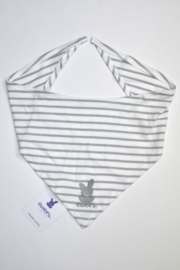 Unisex Baby Halsdoek /slab strepen + borduursel- Ewers- wit grijs