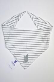 Unisex Baby Halsdoek /slab strepen + borduursel- Ewers- White Grey