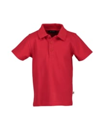 Kids  Boys knitted polo shirt-Blue Seven-Bright Red