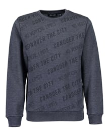 Boys knitted  sweatshirt-Blue Seven-Blue Print