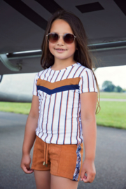 DJ Dutch Jeans-Girls T-Shirt ss-White + stripe